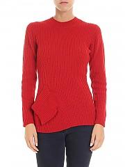 [관부가세포함][Y's 요지야마모토] Red ribbed fabric crew neck pullover (YV-K32-582-1)