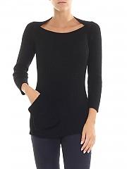 [관부가세포함][Y's 요지야마모토] Black ribbed fabric pullover (YV-K31-582-2)
