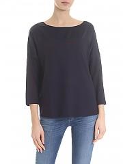[관부가세포함][람베르또 로자니] Navy blue sweater with silk insert (281201 0600)