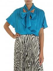 [관부가세포함][앨리스 앤 올리비아] FW19 Turquoise 여성 블라우스 with bow (CC908057013 C405)