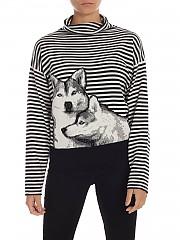 [관부가세포함][마이트윈트윈셋] FW19 여성 Husky inlay striped 니트 풀오버 in black and white (192MT3120 04463)