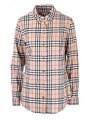 [관부가세포함][버버리] SS21 여성 button down shirt with vintage check print (8022284)