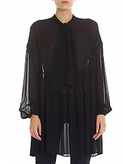 [관부가세포함][Pierantonio Gaspari] Black blouse with nude effect (1N6308 HJ291 V.91 NERO)