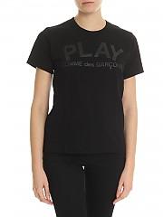 [관부가세포함][꼼데가르송 플레이] Black T-shirt with Comme des garcons print (AZ-T187-051-1)