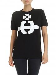 [관부가세포함][비비안웨스트우드 앵글로매니아] Orb crew neck T-shirt in black (37010022-20461 N401)