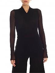 [관부가세포함][퍼지] FW19 여성 Black 튤 티셔츠 with knitted neckline (F91693 10943 999)