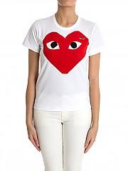 [관부가세포함][꼼데가르송 플레이] 여성 반팔 티셔츠 (AZ-T025-051-1)