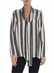 [관부가세포함][her shirt] Striped tie-neck blouse (Z01447 738A 129)
