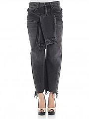 [관부가세포함][알렉산더 왕] Black jeans with sleeves applied (4D994212BY 015)