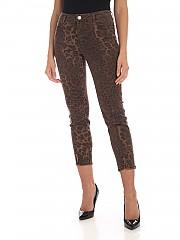 [관부가세포함][마이트윈트윈셋] FW19 여성 Animal print 데님팬츠 in brown (192MP2211 04014)