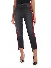[관부가세포함][마이트윈트윈셋] FW19 여성 Red side stripes 데님팬츠 in black (192MP2300 01103)