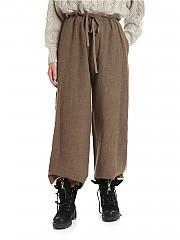 [관부가세포함][Y's 요지야마모토] FW19 Brown 여성 팬츠 with raw cut details (YC-P11-110-1)