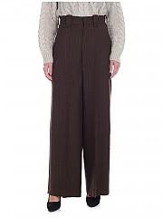 [관부가세포함][Y's 요지야마모토] FW19 여성 팬츠 high-waisted in brown (YC-P45-142-1)