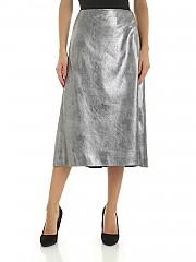 [관부가세포함][인코텍스] FW19 여성 플레어 스커트 in silver eco-leather (101744 D4556 900)