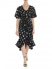 [관부가세포함][다이앤폰퍼스텐버그] Sareth DVF black dress with frill (12447 BLACK/SILVER)