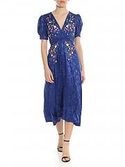 [관부가세포함][살로니] Lea dress in blue with floral embroidery (1740 622 228/5229)