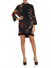 [관부가세포함][퍼지] FW19 여성 Black 튤 원피스 with red prints (F91555 11185 265)