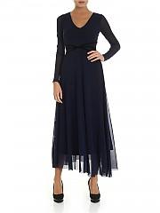 [관부가세포함][퍼지] FW19 여성 롱 원피스 in blue with velvet inserts (F91703 10056 672)