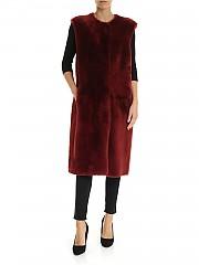 [관부가세포함][데사] FW19 여성 롱 베스트 fur in dark red (K12064 MELOGRANO)