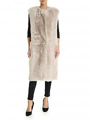 [관부가세포함][데사] FW19 여성 롱 베스트 sheepskin in beige (K12064-R CHAMPAGNE)