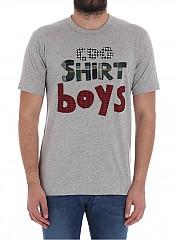 [관부가세포함][꼼데가르송 셔츠 보이즈] Gray cotton T-shirt with patches (S26933 1)
