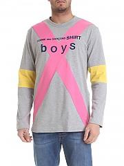 [관부가세포함][꼼데가르송 셔츠 보이즈] T-shirt in grey melange cotton (S27932-1)