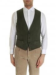 [관부가세포함][루비암1911] FW19 남성 베스트 Asymmetrical bottom vest in pine green color (1475 95162/2)