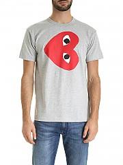 [관부가세포함][꼼데가르송 플레이] FW19 남성 Play Heart logo 반팔 티셔츠 in gray (AZ-T264-051-1)