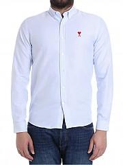 [관부가세포함][아미] Ace of hearts striped shirt (E18C013.41 455 SKY BLUE/WHITE)