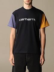 [관부가세포함][칼하트] (I02835903 1C.00)  Winter 20 남성  cotton 티셔츠 with two-tone sleeves navy
