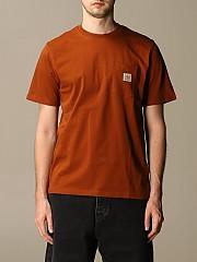 [관부가세포함][칼하트] (I02209103 0E9.00)  Winter 20 남성  cotton 티셔츠 with logo amaranth