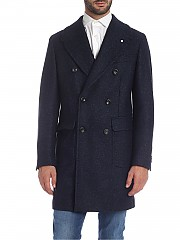 [관부가세포함][루이지 비앙키 만토바] Double-breasted 코트 in blue melange (7316 95081/5)