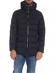 [관부가세포함][에르노 라미나르] Quilted 남성 다운 재킷 in melange blue color (PI102UL 12290 9201)
