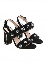[관부가세포함][Alberto Gozzi] Black sandals with studs (BLUE-220CAM)