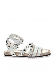 [관부가세포함][켄달카일리] Bianca sandals in leather with studs (BIANCA WHITE-WHITE TENDRE)