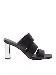 [관부가세포함][켄달카일리] Leila sandals in black with mirrored heels (LEILA-B BLACK LEATHER)