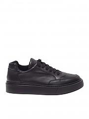 [관부가세포함][프라다스포츠] Black leather sneakers with logo (4E3453 3A6F F0002)