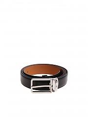 [관부가세포함][몽블랑] Black belt with silver buckle (118418)