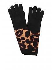 [관부가세포함][루루기네스] FW19 여성 장갑 Wild cat gloves in black and animal print (50160495 BLACK/TAN/CHINA RED)