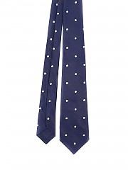 [관부가세포함][키톤] polka dot patterned silk tie (CRAVATTA702POISBLUE)