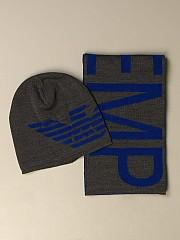 [관부가세포함][아르마니] (407510 0A758 06548)  Winter 20 여성 emporio  hat +스카프 set in cotton and wool
